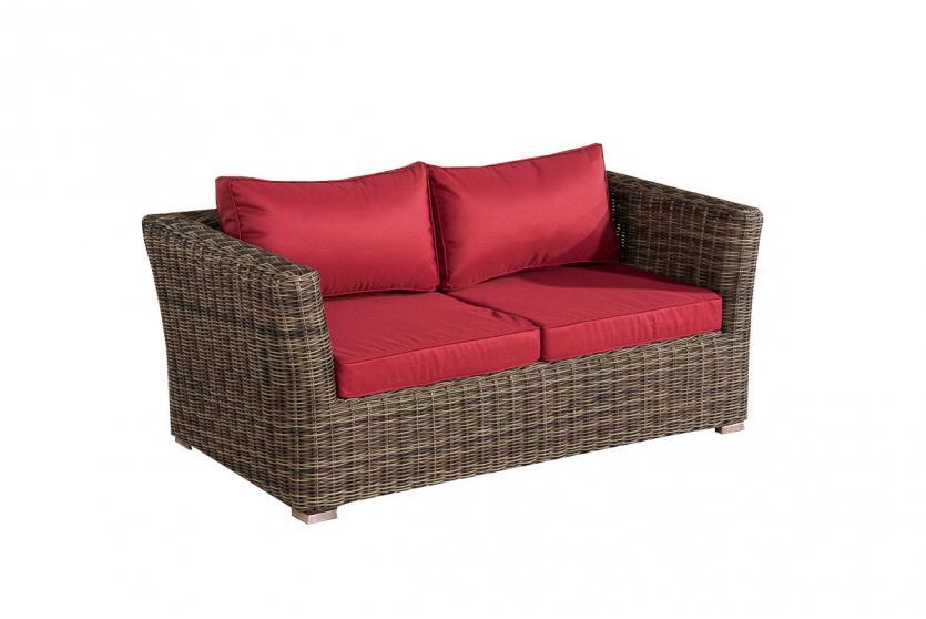 2er sofa 2 sitzer sousse poly rattan grau meliert in rubinrot. Black Bedroom Furniture Sets. Home Design Ideas