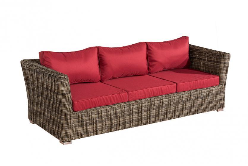 3er sofa 3 sitzer sousse poly rattan grau meliert mit kissen in rubinrot. Black Bedroom Furniture Sets. Home Design Ideas