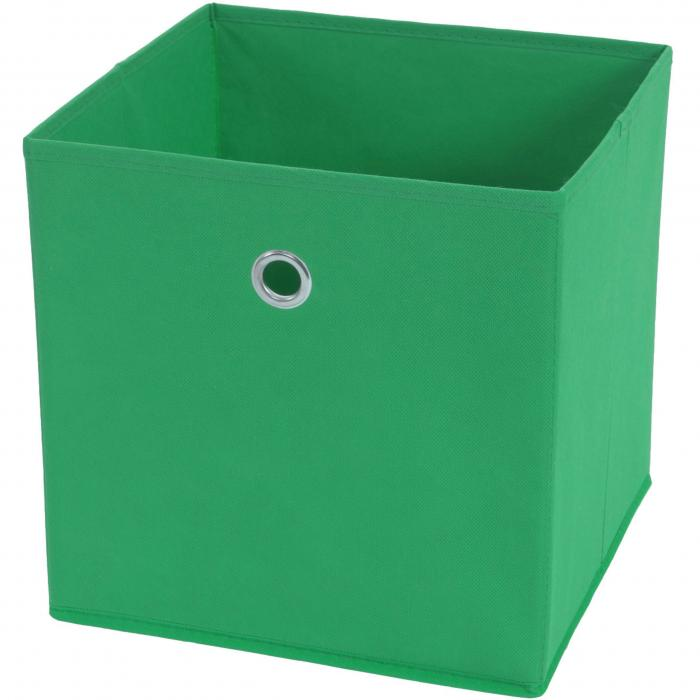 Faltbox T362, Aufbewahrungsbox Ordnungsbox, Textil 28x28x28cm ~ grün