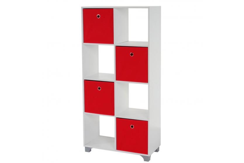 regal t364 standregal holzregal wei inkl 4 faltboxen rot. Black Bedroom Furniture Sets. Home Design Ideas