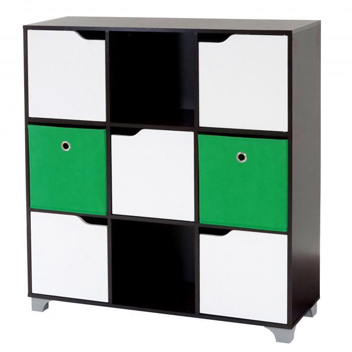 T365, Standregal Holzregal, walnussbraun inkl. 2 Faltboxen ~ grün