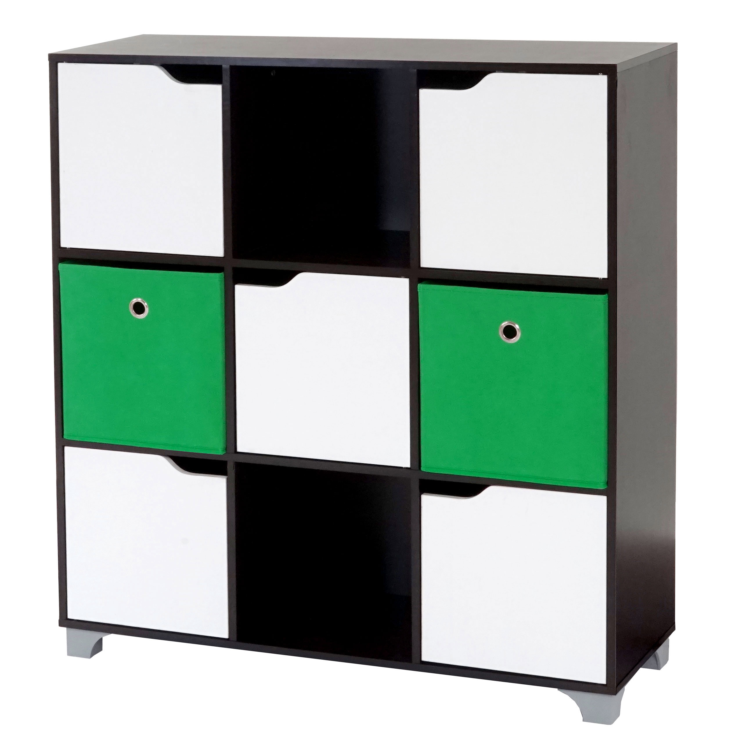 schrank t365 standregal holzregal walnussbraun inkl 2 faltboxen gr n. Black Bedroom Furniture Sets. Home Design Ideas