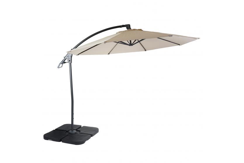 deluxe ampelschirm marbella sonnenschirm 3m creme wei mit st nder. Black Bedroom Furniture Sets. Home Design Ideas