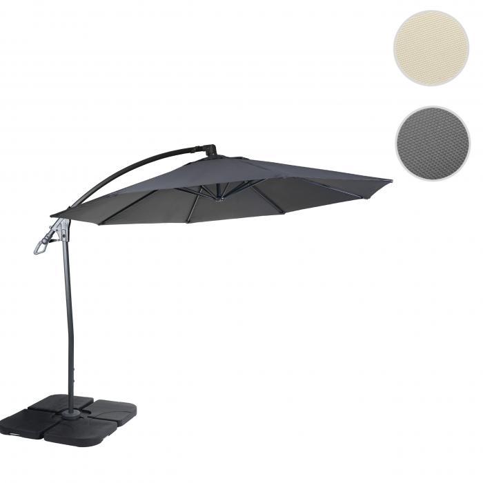 deluxe ampelschirm hwc d14 sonnenschirm rund 3m polyester alu stahl 14kg anthrazit mit st nder. Black Bedroom Furniture Sets. Home Design Ideas