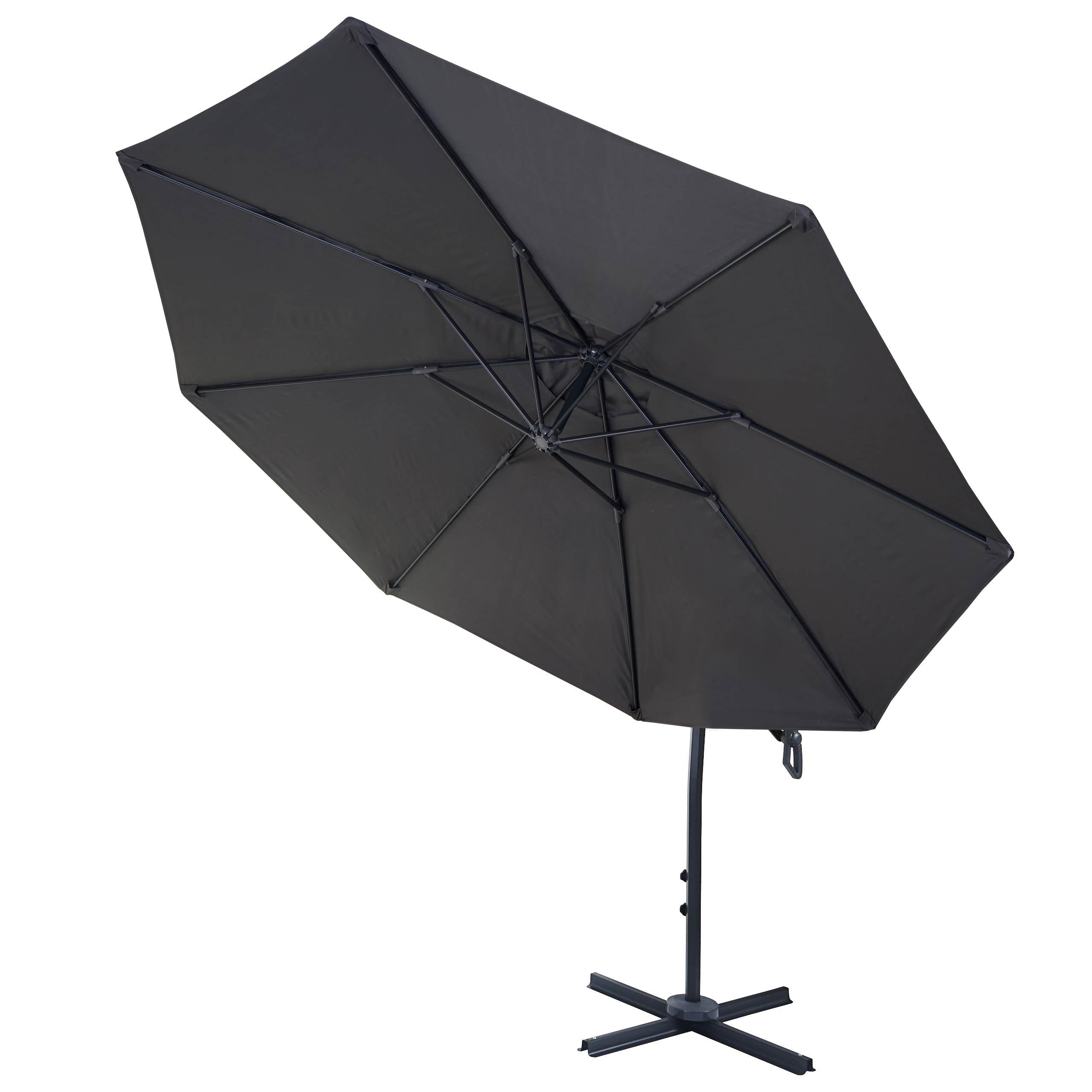 deluxe ampelschirm mcw d14 sonnenschirm rund 3m polyester alu stahl 14kg anthrazit ohne. Black Bedroom Furniture Sets. Home Design Ideas