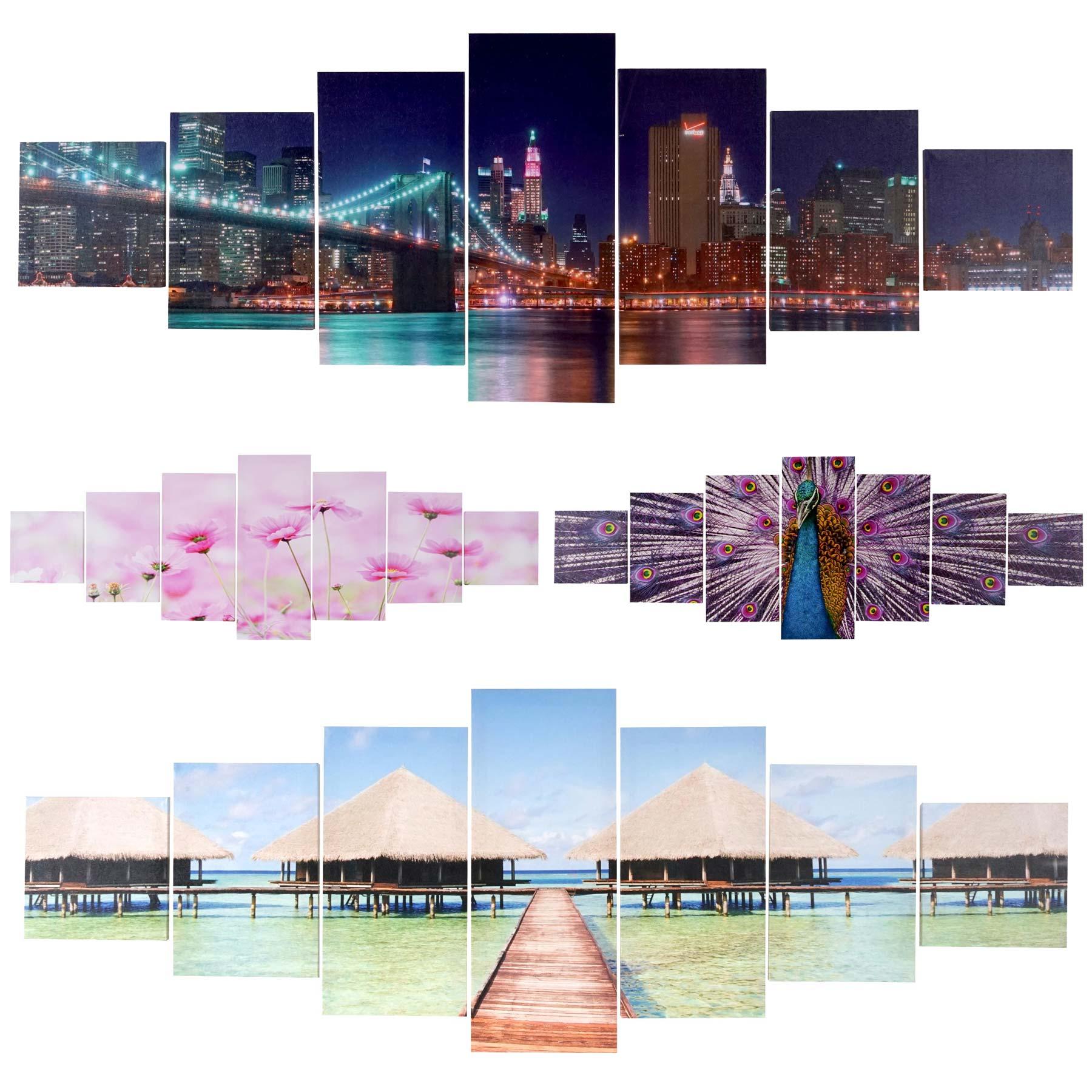 Mendler Leinwandbild T375 XL, Wandbild Keilrahmenbild Kunstdruck, 7-teilig 245x87cm ~ Variantenangebot 39161