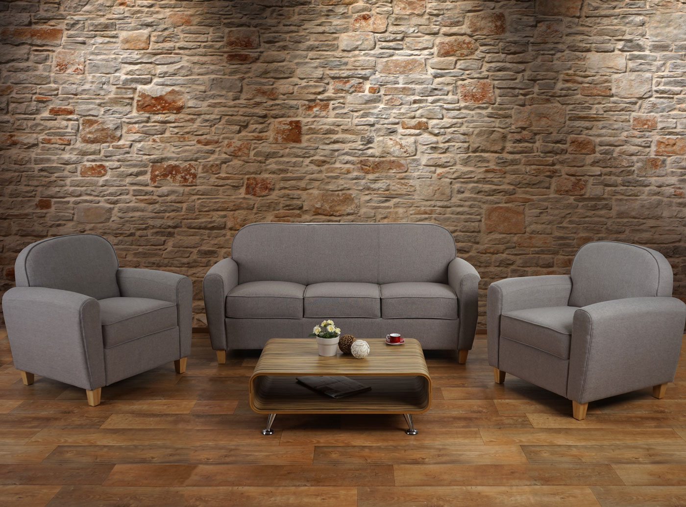 3 1 1 sofagarnitur malm t377 couch loungesofa retro 50er jahre design grau textil. Black Bedroom Furniture Sets. Home Design Ideas