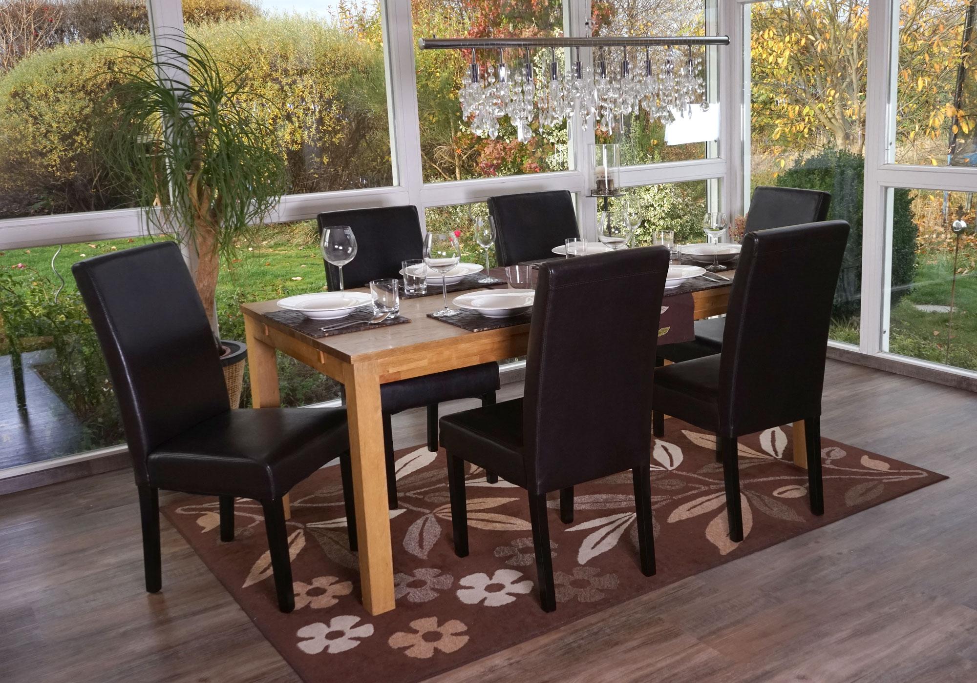 6x esszimmerstuhl t378 xl stuhl lehnstuhl kunstleder schwarz dunkle beine. Black Bedroom Furniture Sets. Home Design Ideas