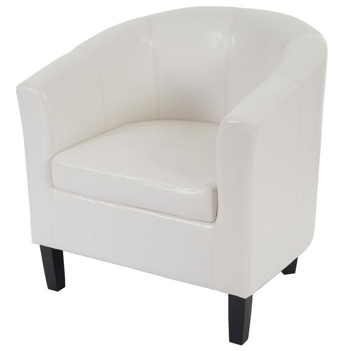 Sessel weiß  Newport T379, Loungesessel Clubsessel, Kunstleder ~ weiß