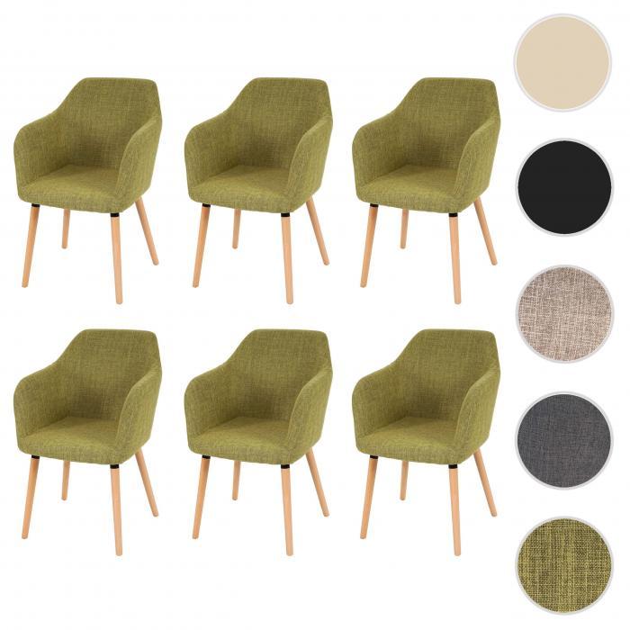 6x Esszimmerstuhl Malmö T381, Stuhl Küchenstuhl, Retro 50er Jahre Design ~ Textil, hellgrün, helle Beine