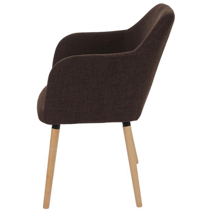 Esszimmerstuhl Malmö T381, Stuhl Küchenstuhl, Retro 50er Jahre Design ~ Textil, braun, helle Beine