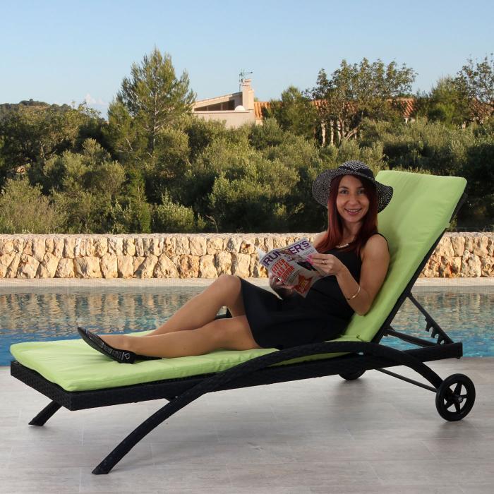 Luxus sonnenliege kastoria relaxliege gartenliege rundes rattan naturgrau auflage creme - Garten relaxliege klappbar ...