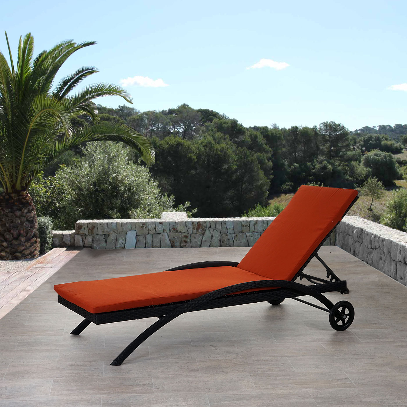 sonnenliege kastoria relaxliege gartenliege poly rattan anthrazit auflage terrakotta. Black Bedroom Furniture Sets. Home Design Ideas