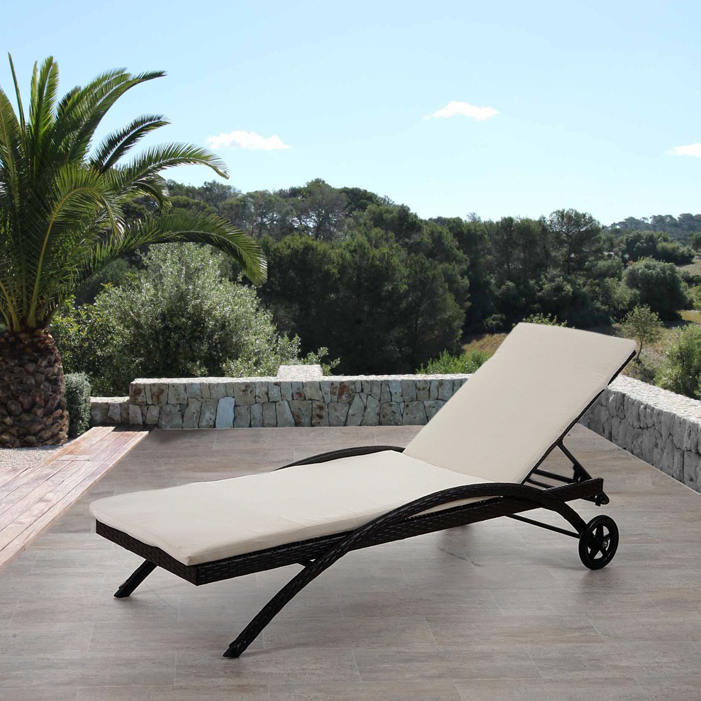 sonnenliege kastoria relaxliege gartenliege poly rattan braun meliert auflage creme. Black Bedroom Furniture Sets. Home Design Ideas