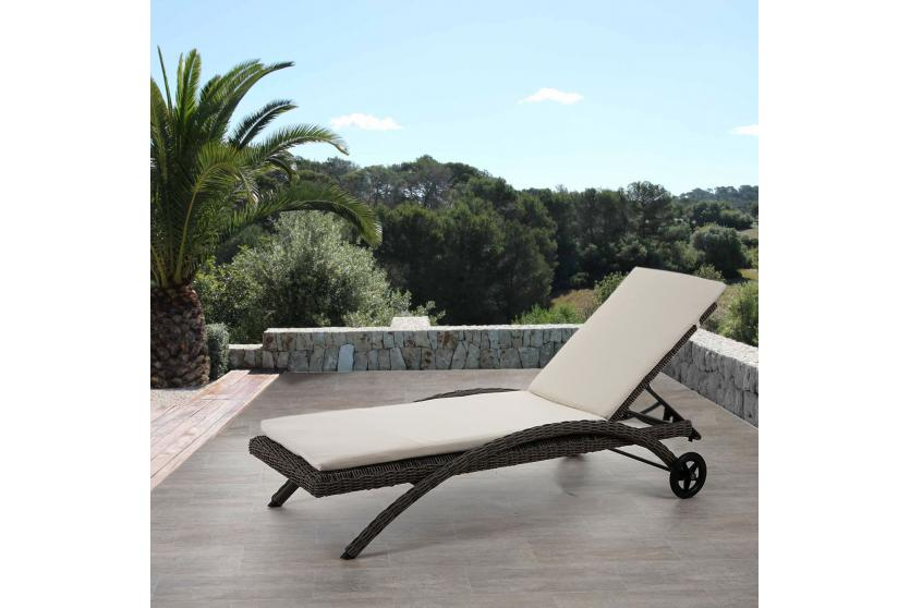 luxus sonnenliege kastoria relaxliege gartenliege rundes rattan naturgrau auflage creme. Black Bedroom Furniture Sets. Home Design Ideas