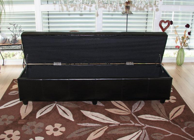 Bank sitzbank mit aufbewahrung kriens xxl kunstleder 180x45x45cm schwarz for Esszimmergarnitur mit bank