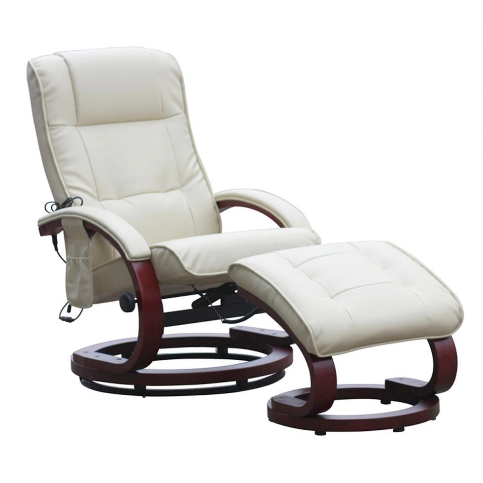 relaxsessel mit hocker und massagefunktion kunstleder wei creme ebay