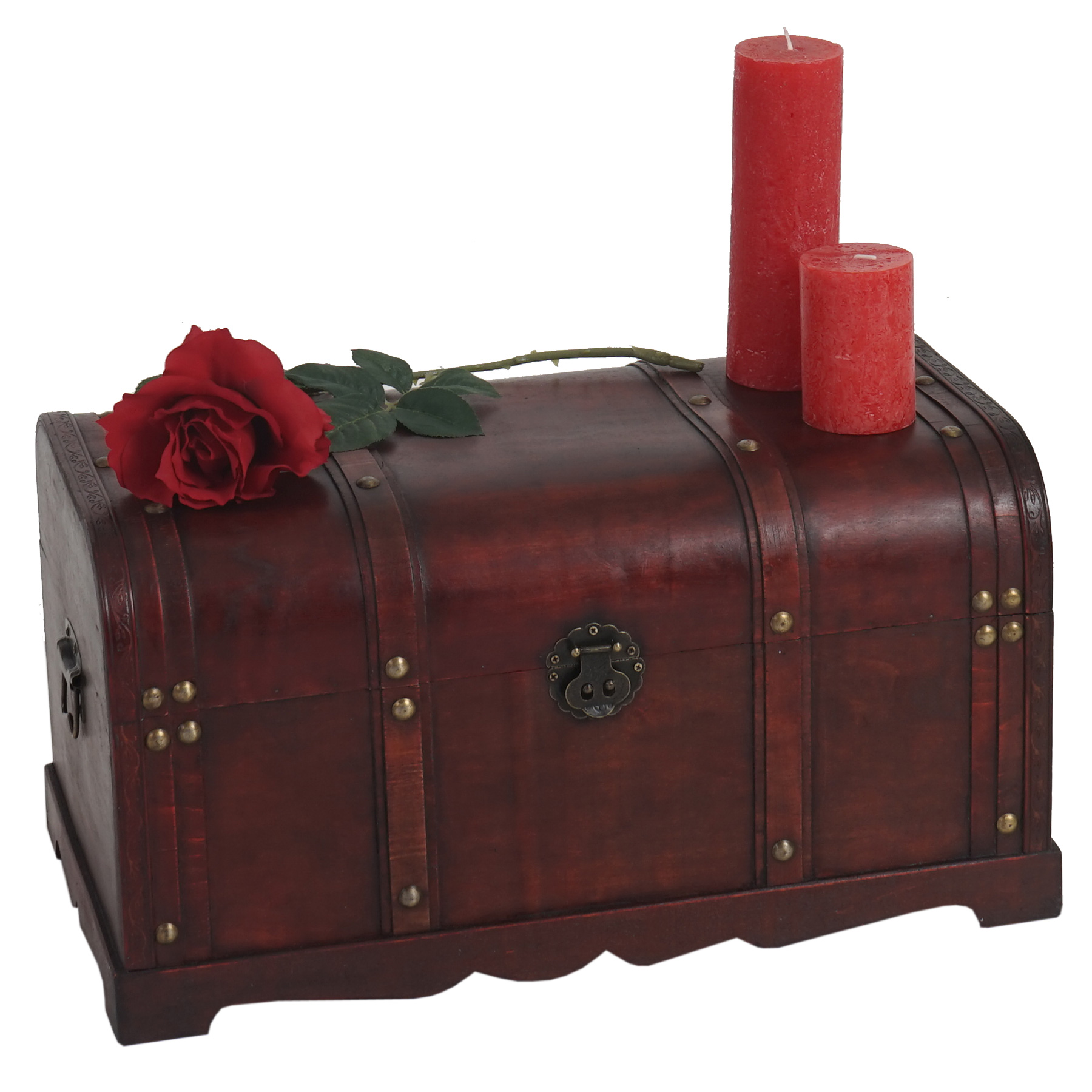 Mendler Holztruhe Holzbox Schatztruhe Valence Antikoptik 30x57x29cm ~ Variantenangebot 34227