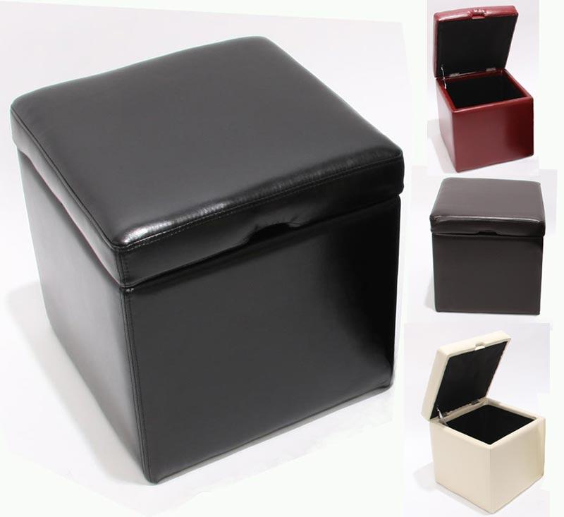 Mendler 2er Set Hocker Sitzwürfel Sitzhocker Aufbewahrungsbox Onex, LEDER, 45x44x44cm ~ Variantenangebot 7943+9307