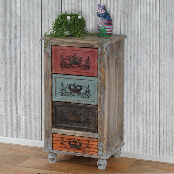 kommode vigo schubladenkommode schrank shabby look vintage 79x43x33cm. Black Bedroom Furniture Sets. Home Design Ideas