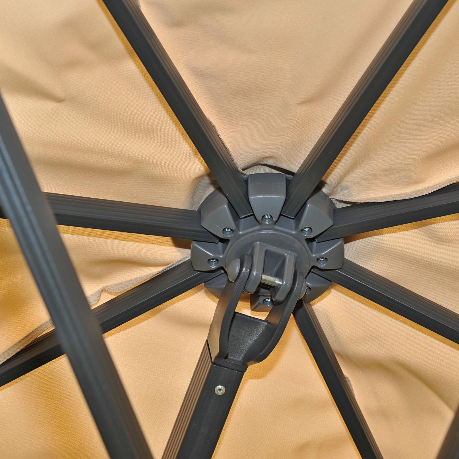 Gastronomie-Alu-Luxus-Doppel-Ampelschirm T44 Detailansicht Konstruktion