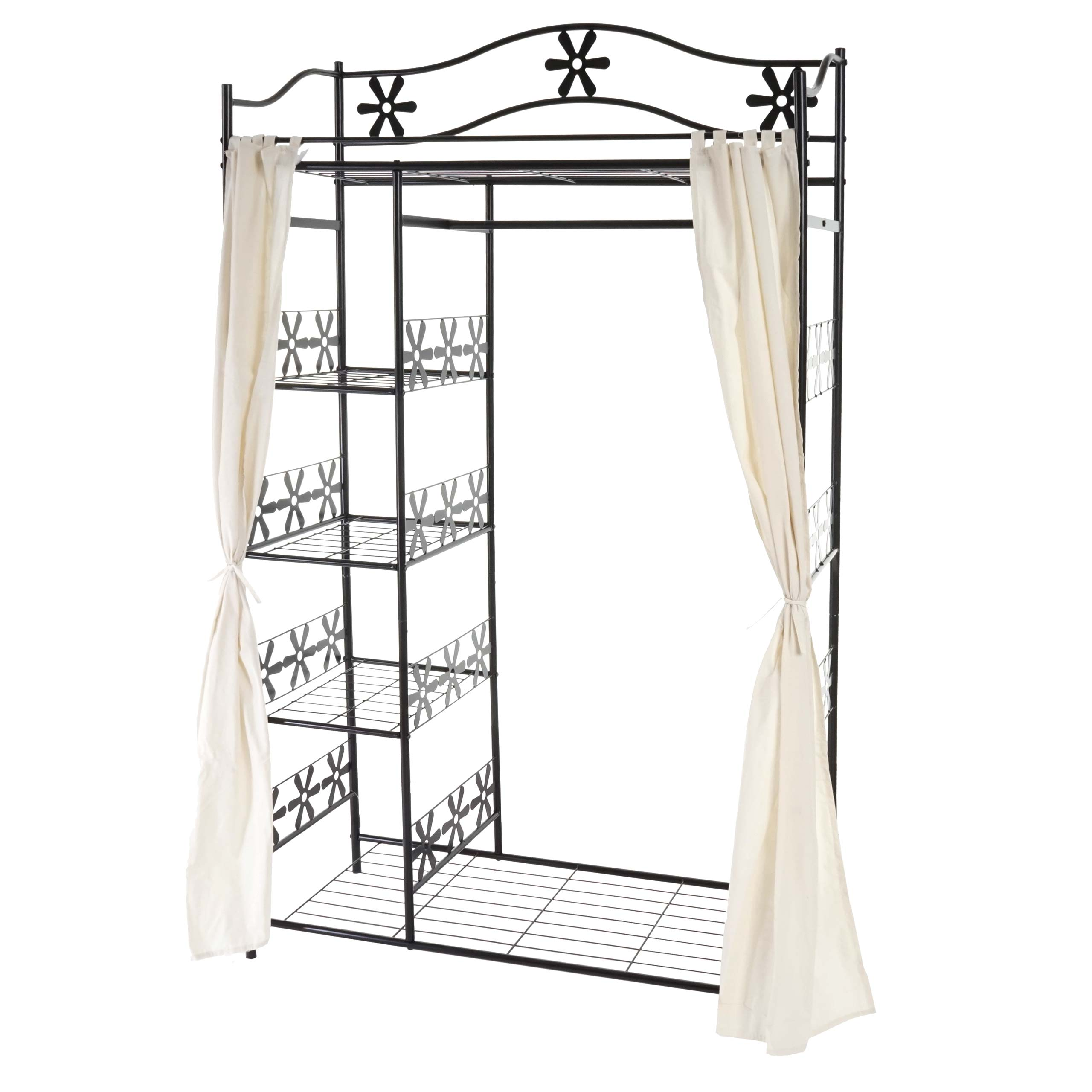 metall garderobe genf garderobenst nder kleiderschrank metallregal 172x100x43cm mit vorhang. Black Bedroom Furniture Sets. Home Design Ideas