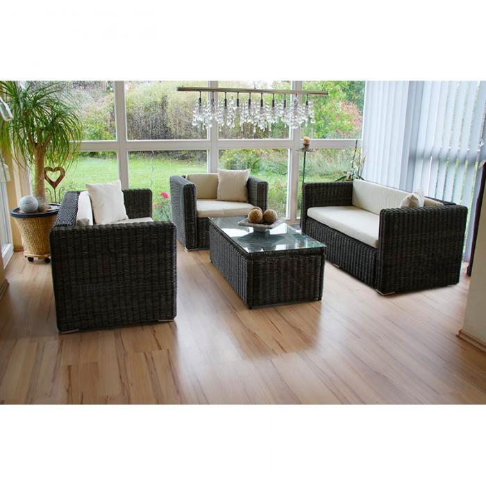 luxus poly rattan alu sofa garnitur romv 2 2 sessel grau rundes rattan. Black Bedroom Furniture Sets. Home Design Ideas