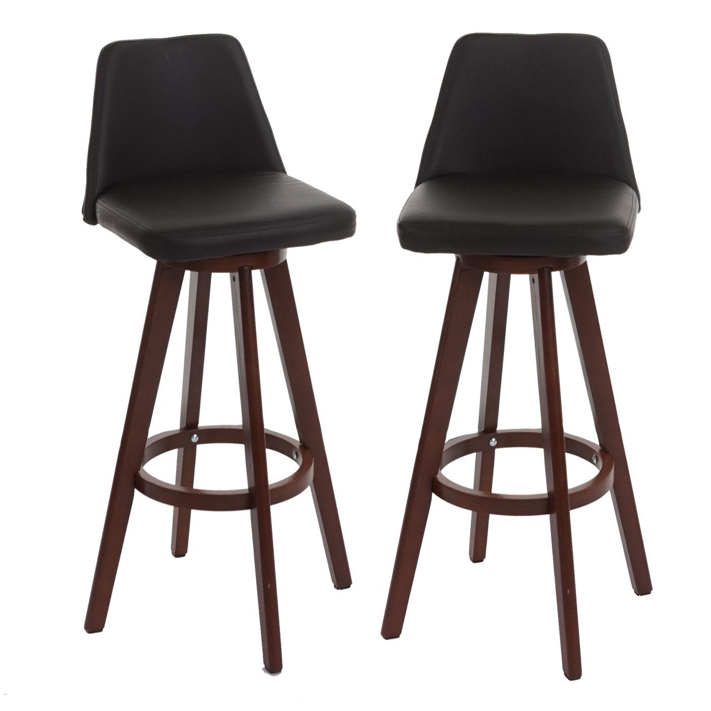 2x barhocker boras barstuhl tresenhocker holz kunstleder drehbar braun dunkle beine. Black Bedroom Furniture Sets. Home Design Ideas