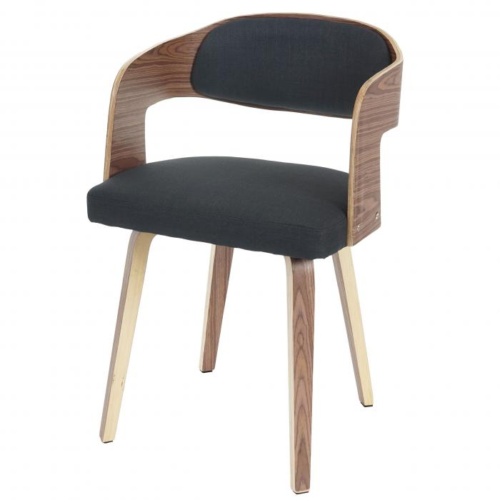 Besucherstuhl Gola, Esszimmerstuhl Stuhl, Holz Bugholz Retro Design ~  Textil Anthrazit