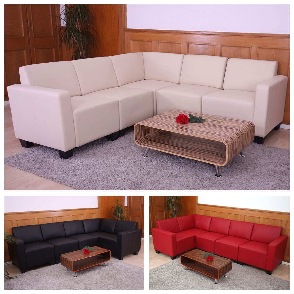 modular sofa system couch garnitur lyon 5 kunstleder ebay. Black Bedroom Furniture Sets. Home Design Ideas