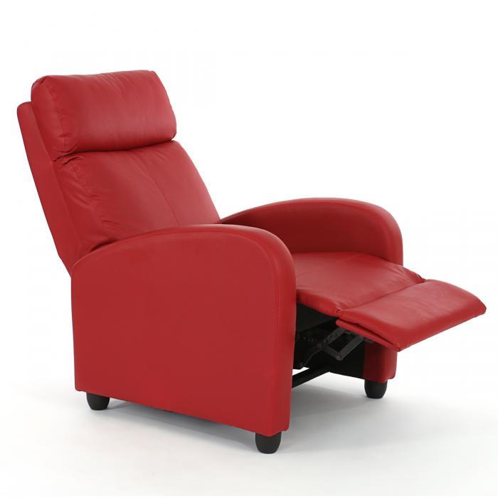 Relaxsessel mit liegefunktion  Relaxsessel Liege Sessel Denver, Kunstleder ~ rot
