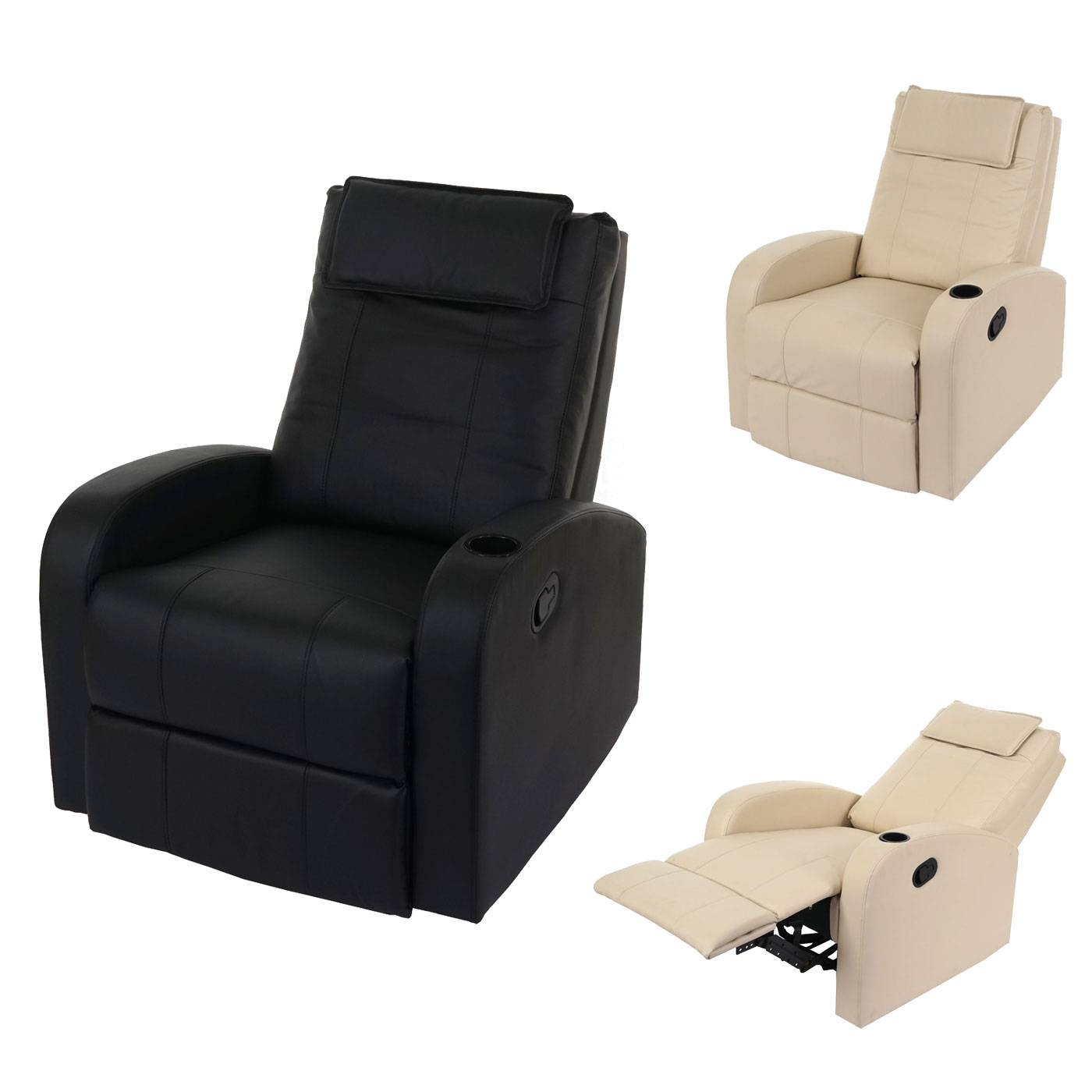 Mendler Fernsehsessel Durham, TV Sessel Relaxsessel Liegesessel, Kunstleder ~ Variantenangebot 41861+41862