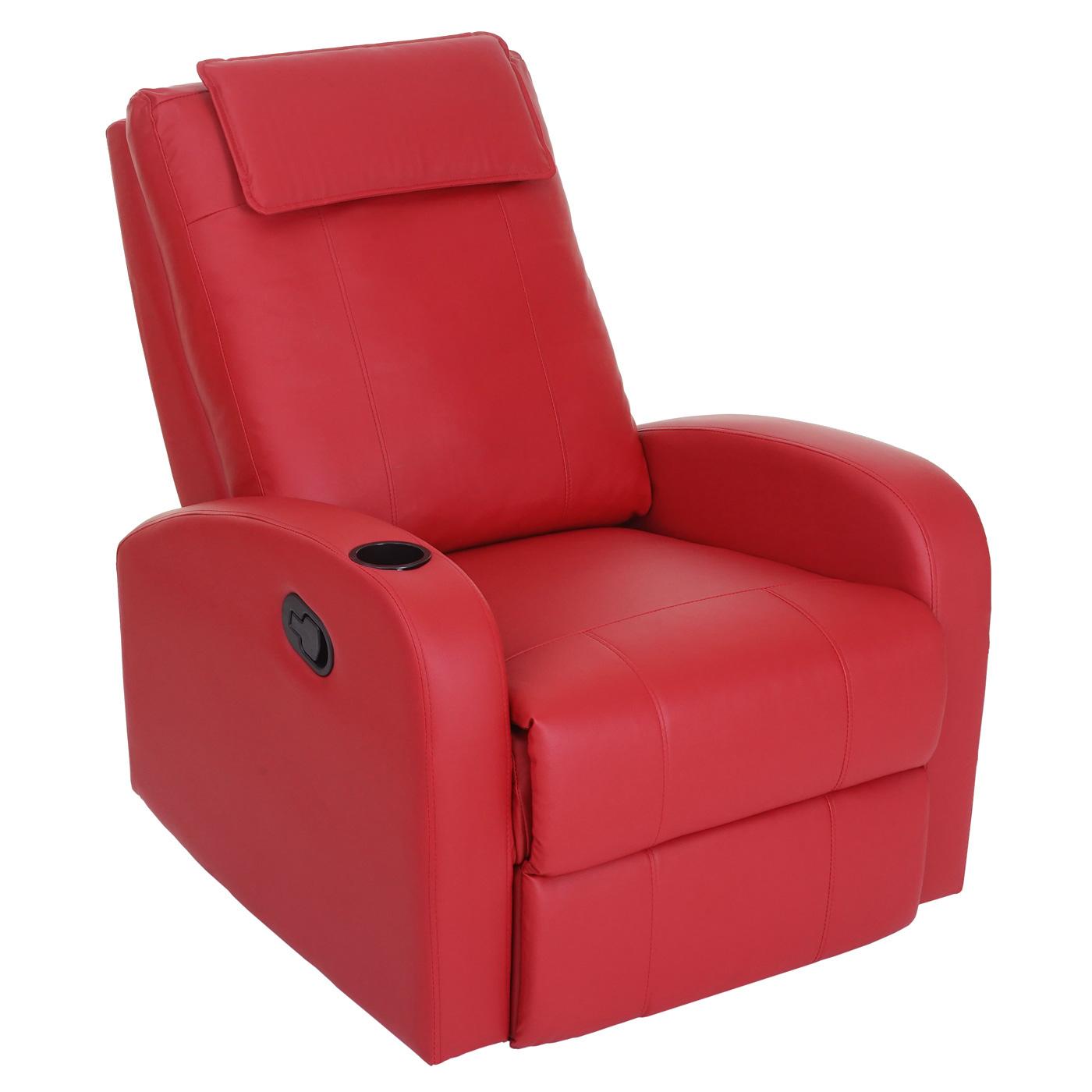 fernsehsessel durham tv sessel relaxsessel liegesessel kunstleder rot. Black Bedroom Furniture Sets. Home Design Ideas
