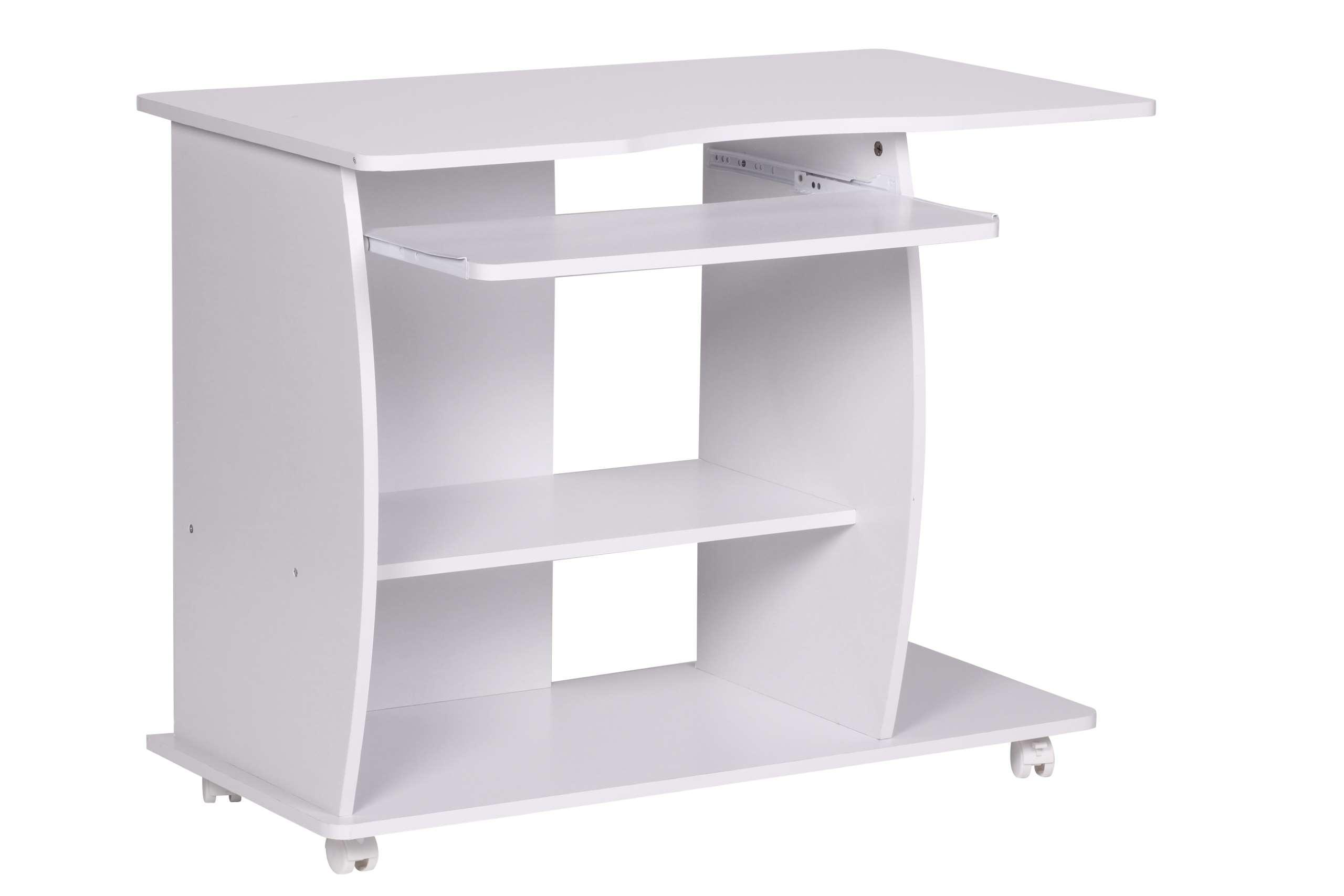 Computertisch A069, Schreibtisch Bürotisch, Mit Rollen, 90x71x50cm ~ Weiß