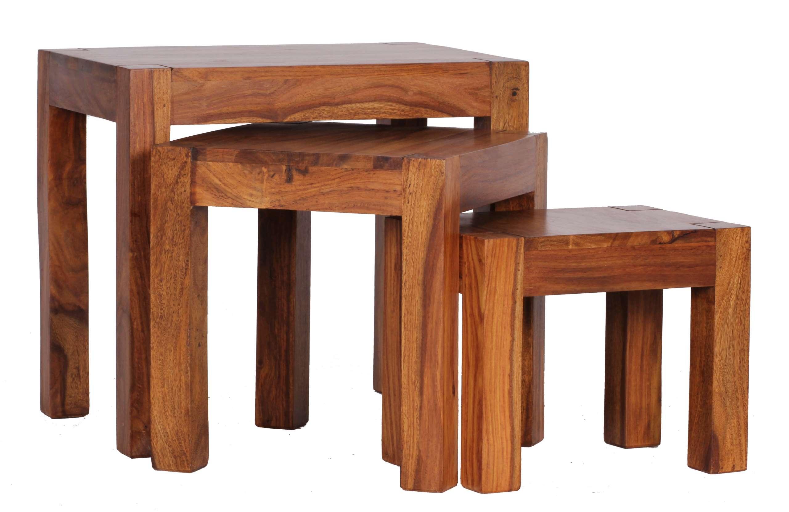 3 satz tisch malatya beistelltisch sheesham massivholz 50x45x35cm. Black Bedroom Furniture Sets. Home Design Ideas