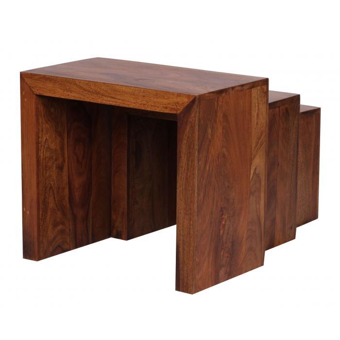 3 satz tisch malatya beistelltisch sheesham massivholz. Black Bedroom Furniture Sets. Home Design Ideas