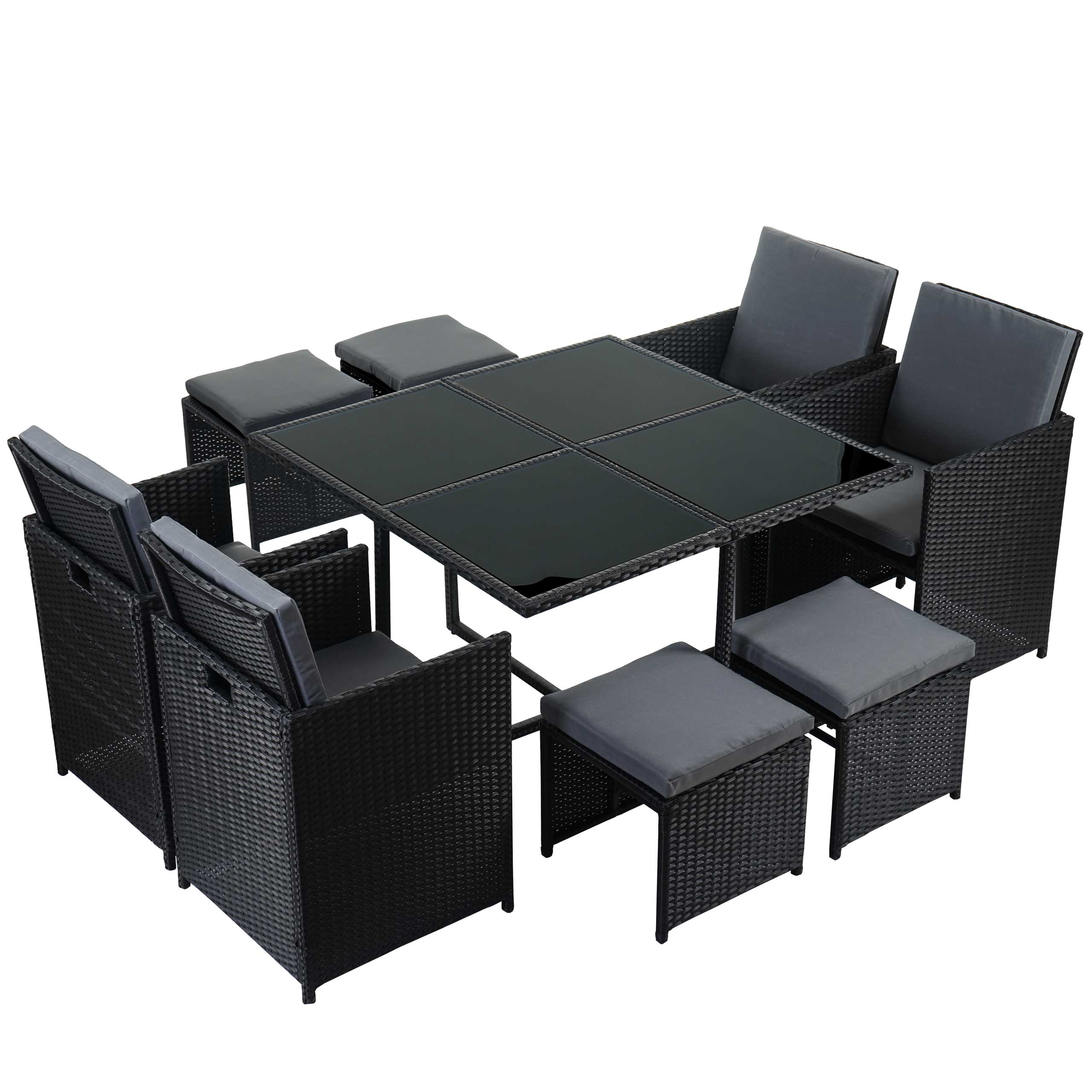 poly rattan garten garnitur kreta lounge set sitzgruppe 4 st hle schwarz kissen grau. Black Bedroom Furniture Sets. Home Design Ideas