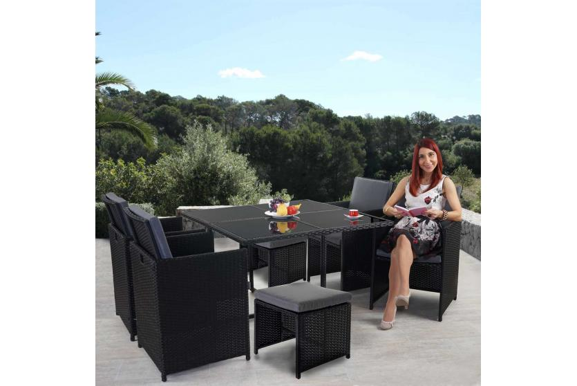 Poly-Rattan Garten-Garnitur Kreta, Lounge-Set Sitzgruppe ~ 4 ...