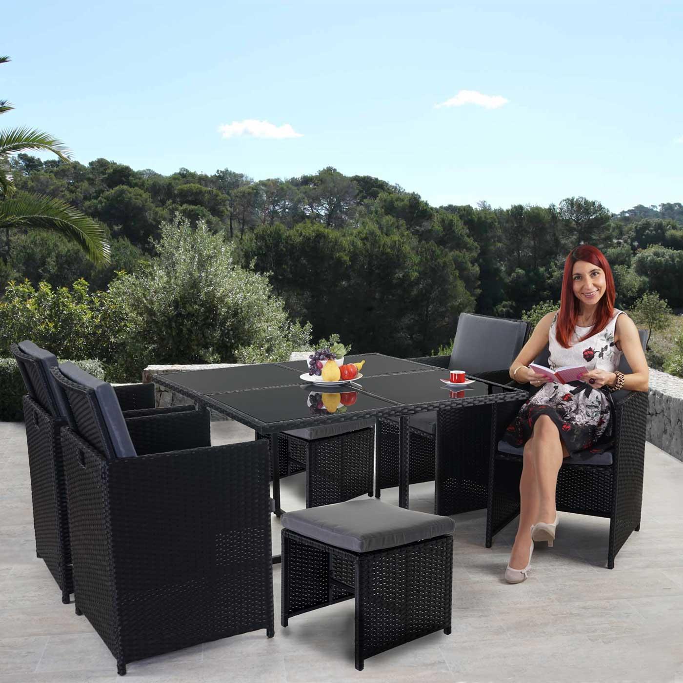 Details zu Poly-Rattan Garten-Garnitur Korfu, Sitzgruppe, 4 Stühle schwarz,  Kissen grau