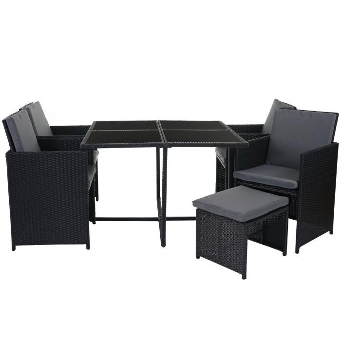 Rattan lounge schwarz grau  Rattan Garten-Garnitur Kreta, Lounge-Set Sitzgruppe ~ 4 Stühle ...