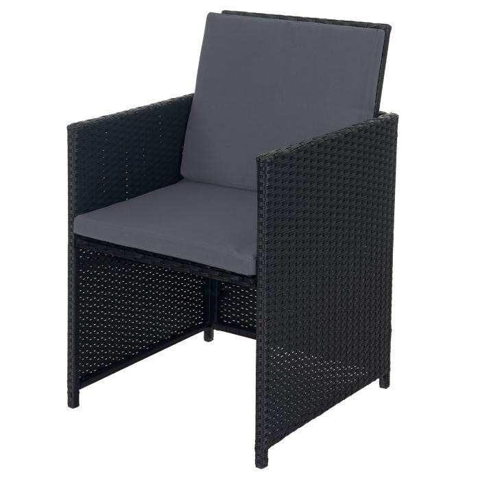 Poly Rattan Garten Garnitur Kreta, Lounge Set Sitzgruppe 10 Sitzplätze ~  Schwarz, Kissen Grau