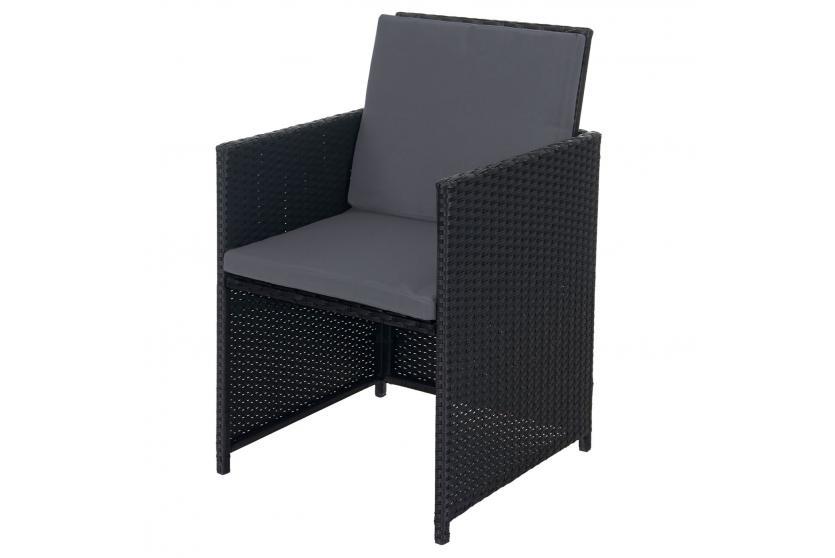 Rattan lounge schwarz grau  Poly-Rattan Garten-Garnitur Kreta, Lounge-Set Sitzgruppe 10 ...