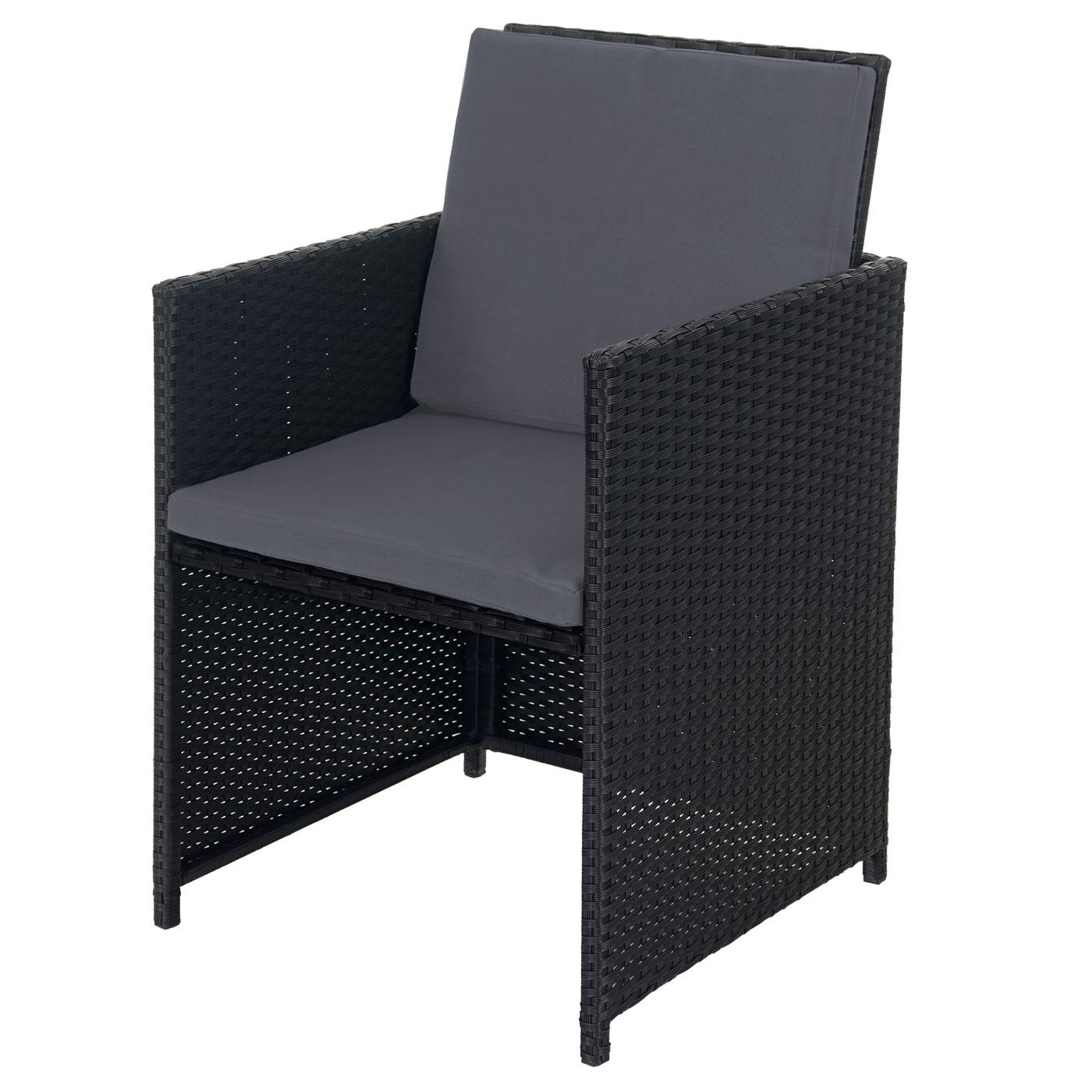 Rattan Lounge Schwarz Grau ~  Garnitur Kreta, LoungeSet Sitzgruppe ~ 4 Stühle schwarz, Kissen grau