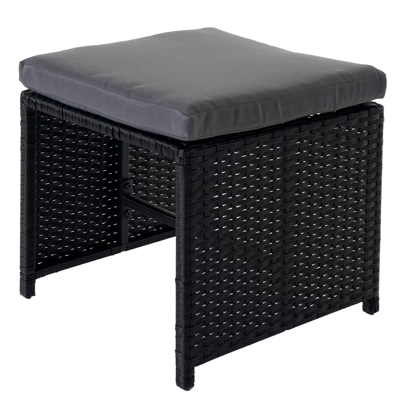 Rattan lounge schwarz grau  Poly-Rattan Garten-Garnitur Kreta, Lounge-Set Sitzgruppe ~ 4 Stühle ...