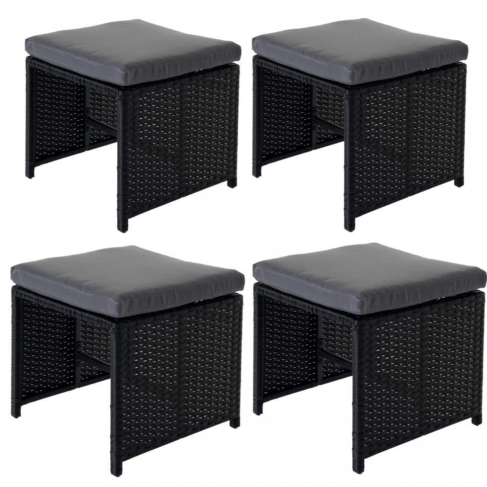 Sitzhocker Lounge-Set 4x Poly-Rattan Hocker Korfu 36x40cm schwarz Kissen grau