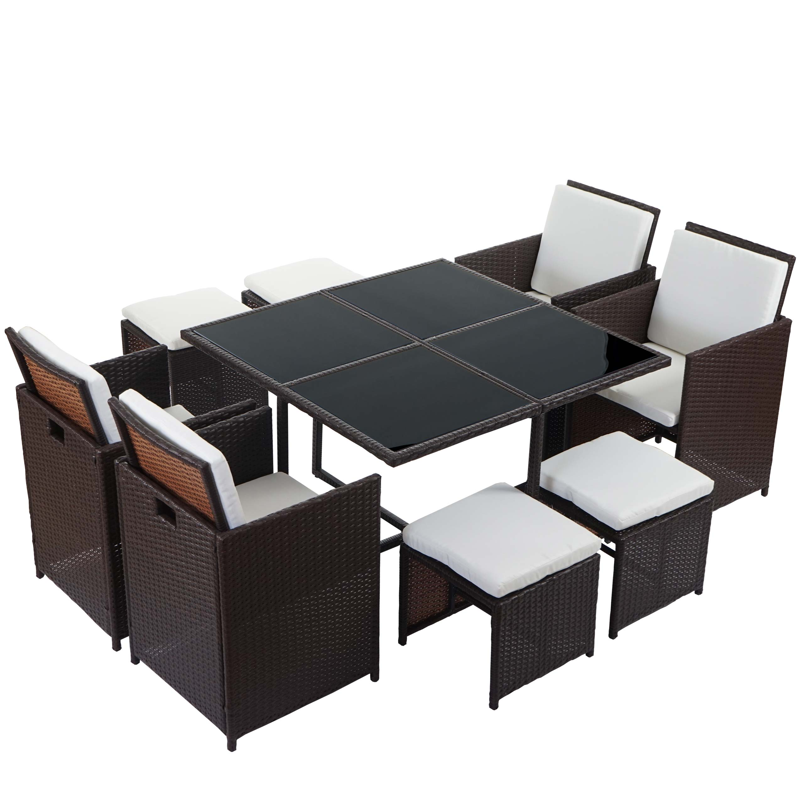 poly rattan garten garnitur kreta lounge set sitzgruppe 4 st hle braun kissen creme. Black Bedroom Furniture Sets. Home Design Ideas