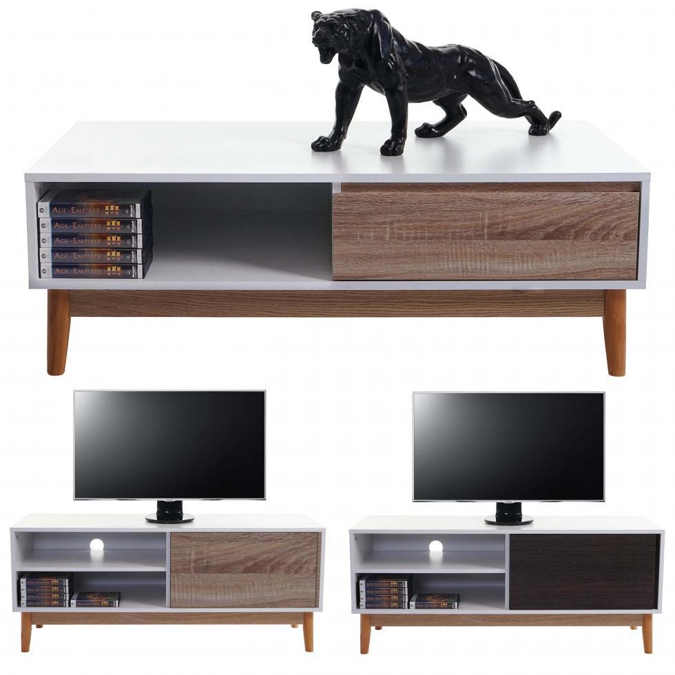 tv rack malm t406 t407 lowboard c moda blanco con caj n. Black Bedroom Furniture Sets. Home Design Ideas