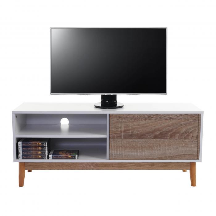 Tv rack holz weiß  Rack Malmö T407, Kommode Lowboard, 120x50x40cm, Retro-Design weiß ...