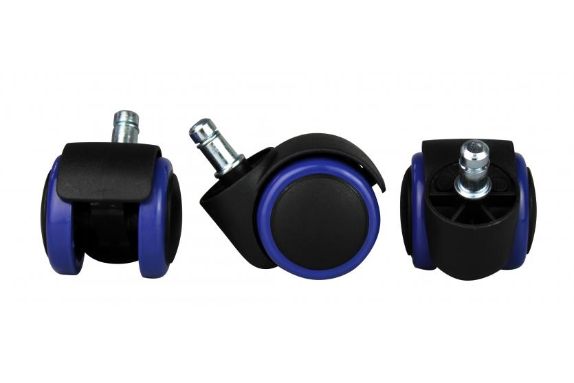 5x hartbodenrollen a129 b rostuhl rollen stuhlrollen 50mm abriebfest f r helle b den blau. Black Bedroom Furniture Sets. Home Design Ideas