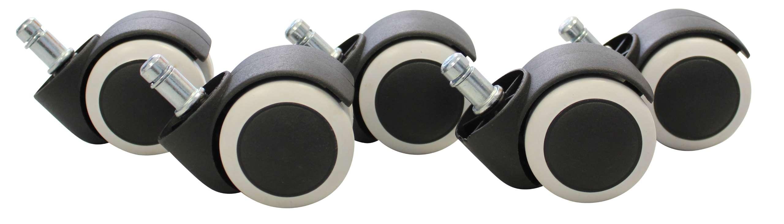 5x Hartbodenrollen A135 Burostuhl Rollen Stuhlrollen 50mm Abriebfest